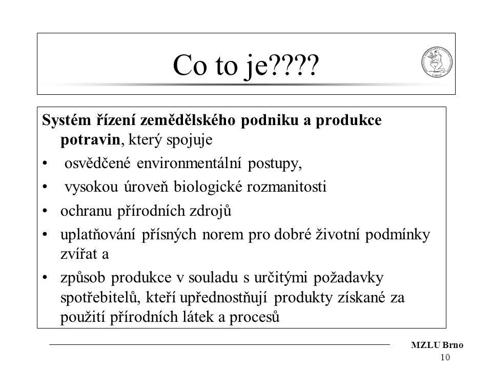 MZLU Brno Co to je???? Systém řízení zemědělského podniku a produkce potravin, který spojuje osvědčené environmentální postupy, vysokou úroveň biologi