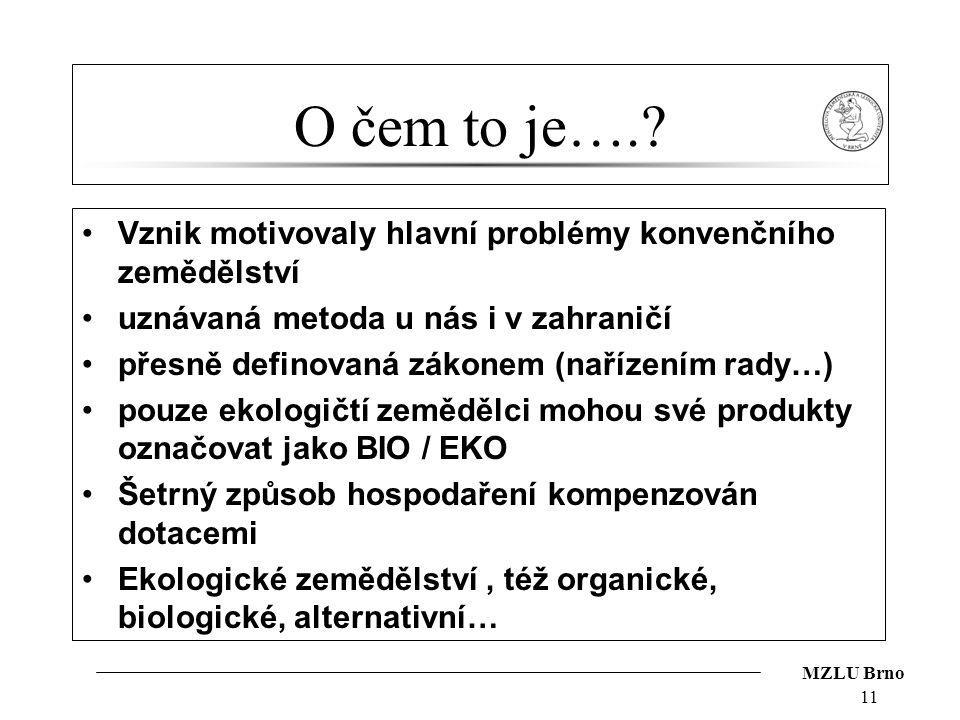 MZLU Brno O čem to je….? Vznik motivovaly hlavní problémy konvenčního zemědělství uznávaná metoda u nás i v zahraničí přesně definovaná zákonem (naříz