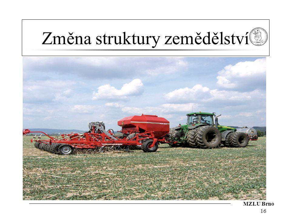 MZLU Brno Změna struktury zemědělství 16