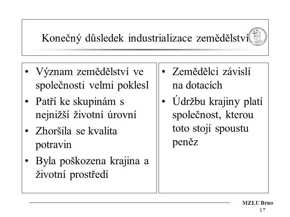 MZLU Brno Konečný důsledek industrializace zemědělství Význam zemědělství ve společnosti velmi poklesl Patří ke skupinám s nejnižší životní úrovní Zho