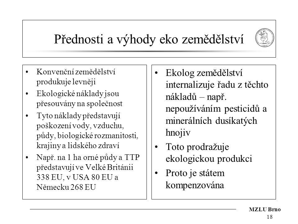 MZLU Brno Přednosti a výhody eko zemědělství Konvenční zemědělství produkuje levněji Ekologické náklady jsou přesouvány na společnost Tyto náklady pře