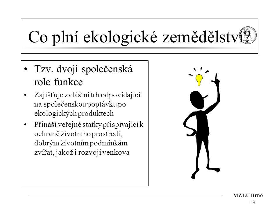 MZLU Brno Co plní ekologické zemědělství? Tzv. dvojí společenská role funkce Zajišťuje zvláštní trh odpovídající na společenskou poptávku po ekologick