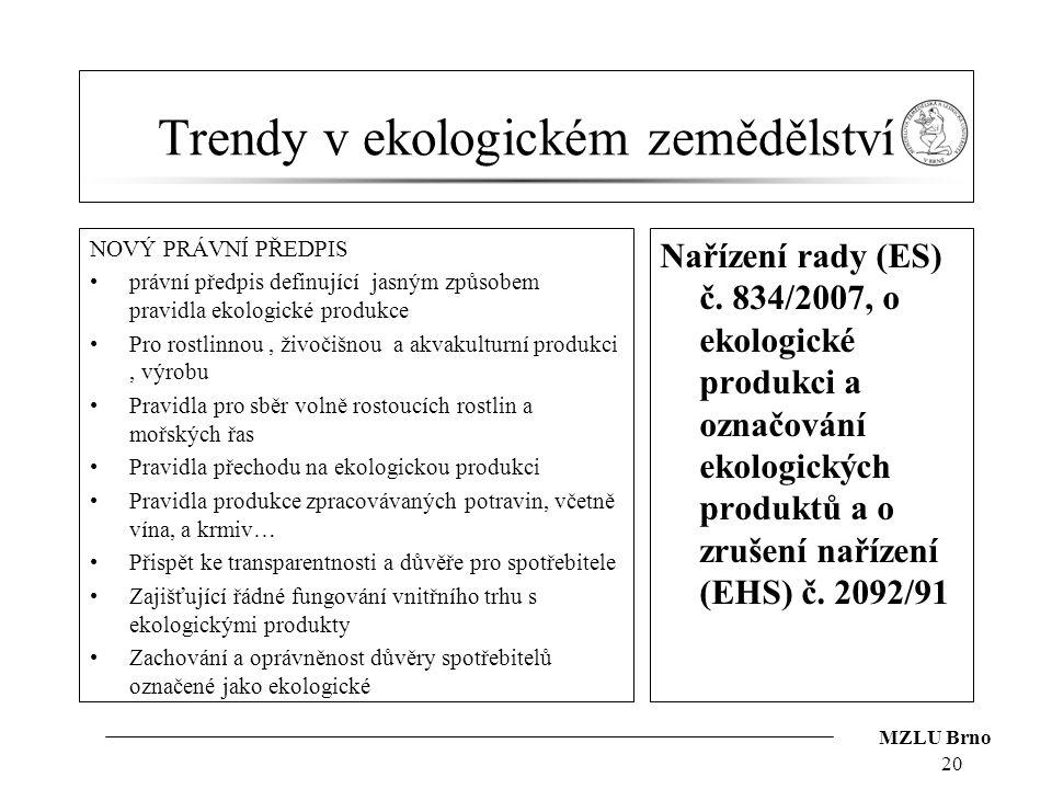 MZLU Brno Trendy v ekologickém zemědělství NOVÝ PRÁVNÍ PŘEDPIS právní předpis definující jasným způsobem pravidla ekologické produkce Pro rostlinnou,
