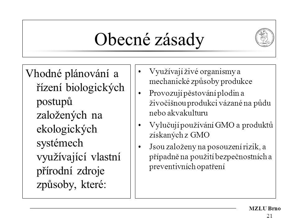 MZLU Brno Obecné zásady Vhodné plánování a řízení biologických postupů založených na ekologických systémech využívající vlastní přírodní zdroje způsob