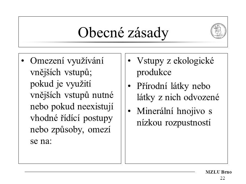 MZLU Brno Obecné zásady Omezení využívání vnějších vstupů; pokud je využití vnějších vstupů nutné nebo pokud neexistují vhodné řídící postupy nebo způ