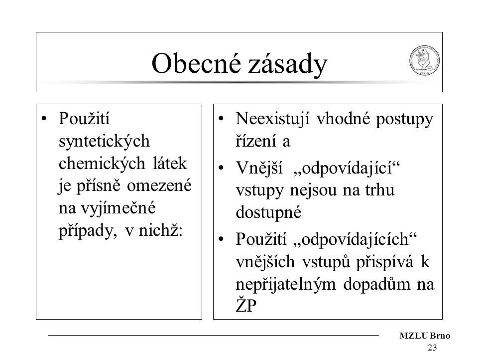 MZLU Brno Obecné zásady Použití syntetických chemických látek je přísně omezené na vyjímečné případy, v nichž: Neexistují vhodné postupy řízení a Vněj