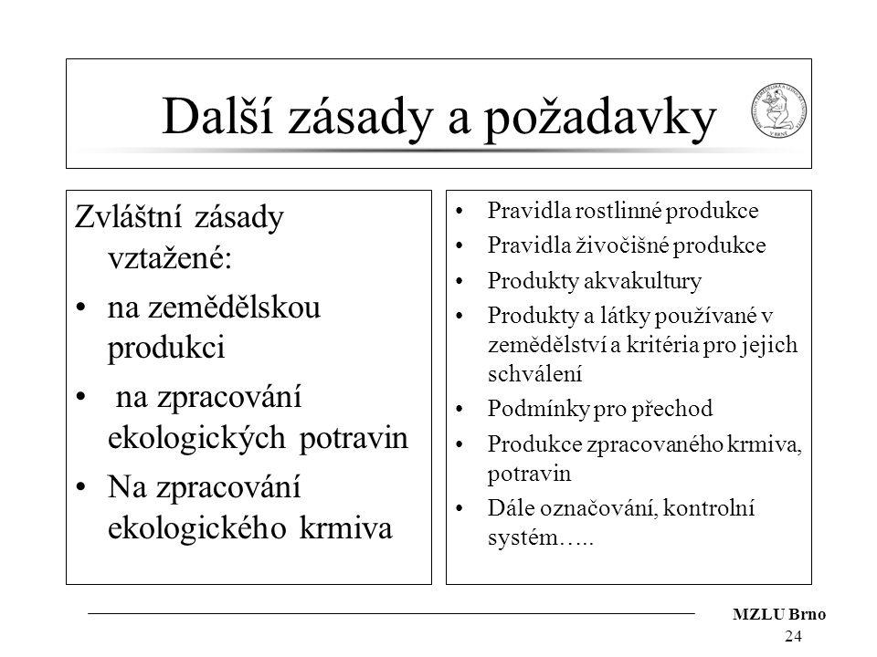 MZLU Brno Další zásady a požadavky Zvláštní zásady vztažené: na zemědělskou produkci na zpracování ekologických potravin Na zpracování ekologického kr