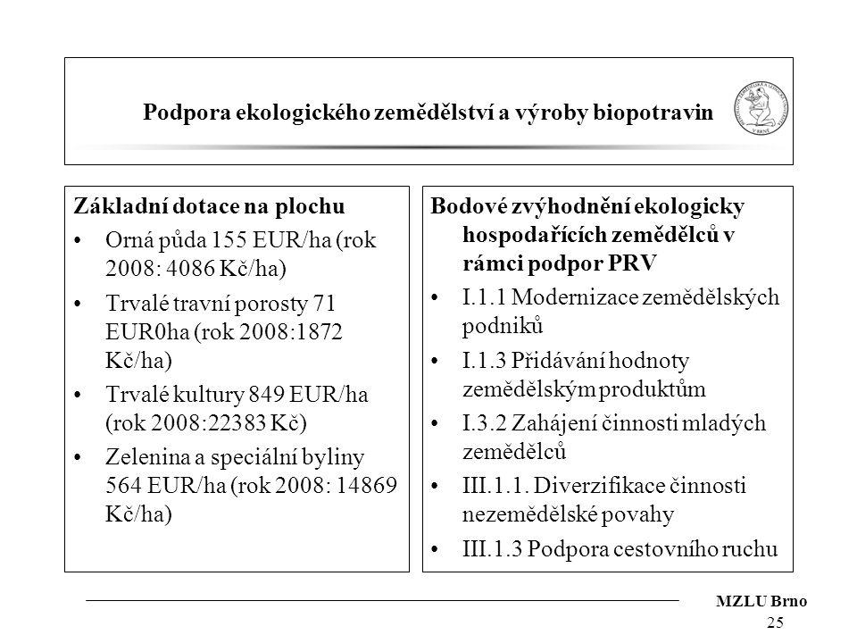 MZLU Brno Podpora ekologického zemědělství a výroby biopotravin Základní dotace na plochu Orná půda 155 EUR/ha (rok 2008: 4086 Kč/ha) Trvalé travní po