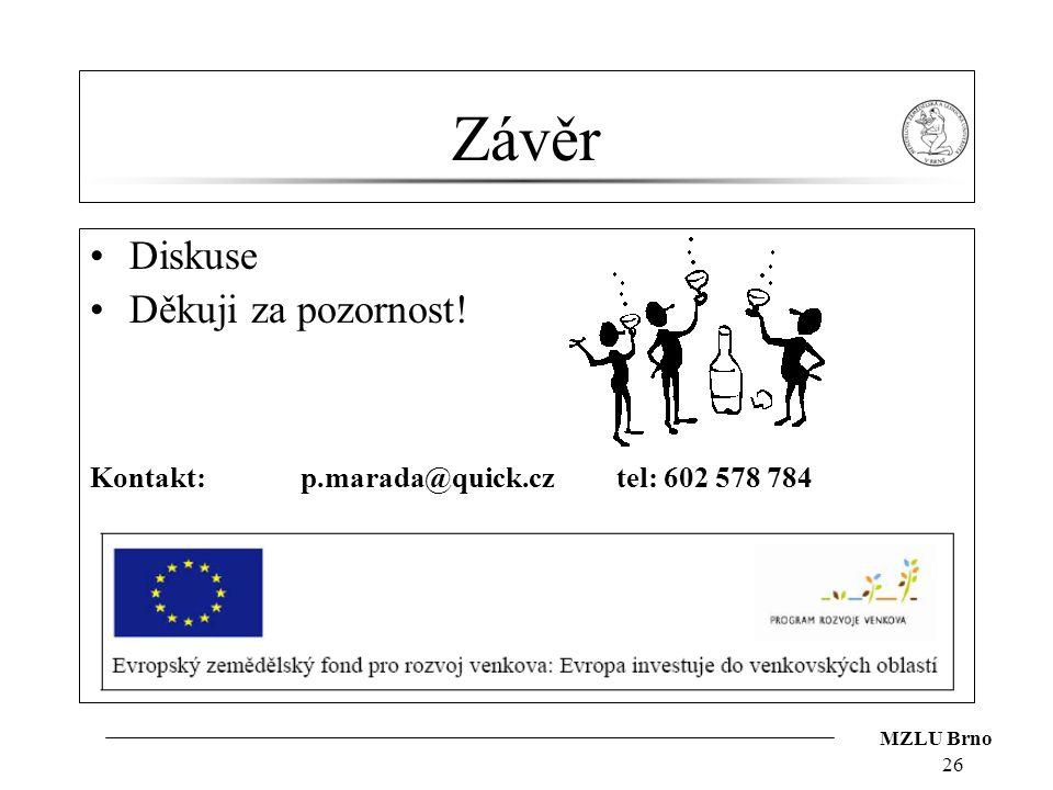 MZLU Brno 26 Závěr Diskuse Děkuji za pozornost! Kontakt:p.marada@quick.cztel: 602 578 784
