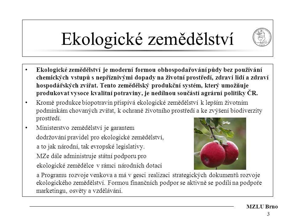 MZLU Brno Ekologické zemědělství Ekologické zemědělství je moderní formou obhospodařování půdy bez používání chemických vstupů s nepříznivými dopady n