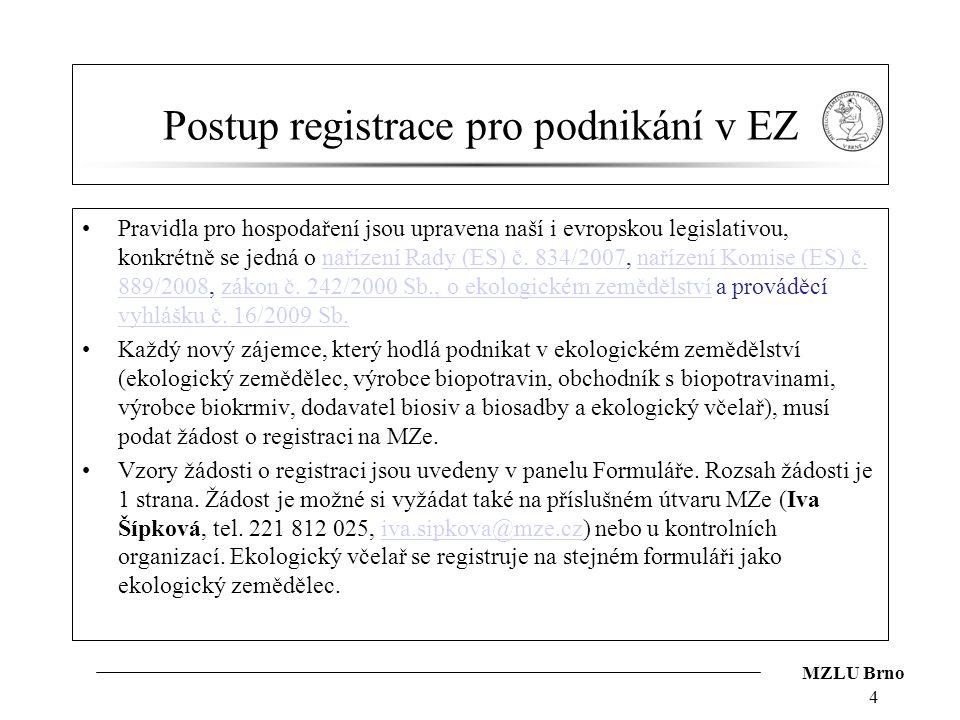 MZLU Brno Postup registrace pro podnikání v EZ Pravidla pro hospodaření jsou upravena naší i evropskou legislativou, konkrétně se jedná o nařízení Rad