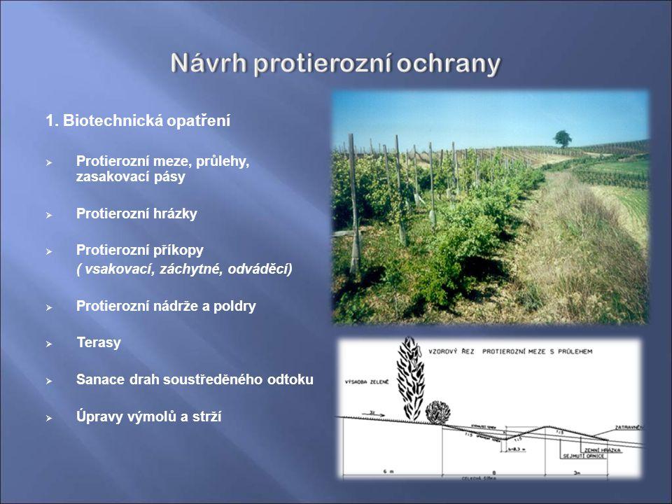1. Biotechnická opatření  Protierozní meze, průlehy, zasakovací pásy  Protierozní hrázky  Protierozní příkopy ( vsakovací, záchytné, odváděcí)  Pr