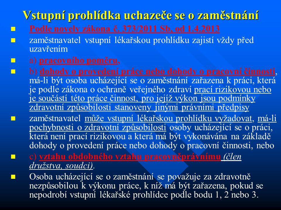 Vstupní prohlídka uchazeče se o zaměstnání Podle novely zákona č.