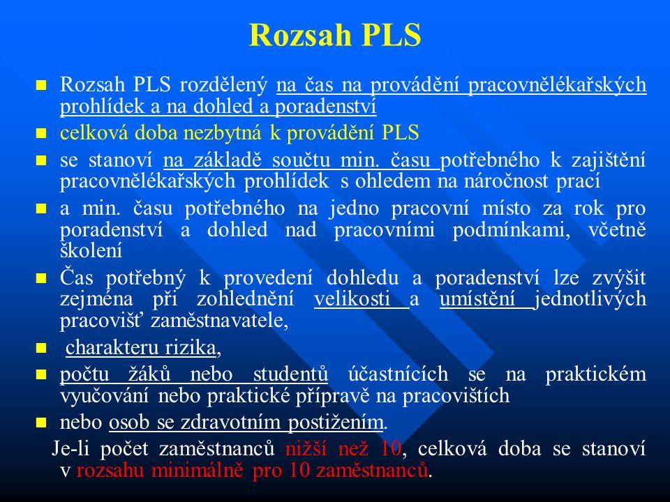 Rozsah PLS Rozsah PLS rozdělený na čas na provádění pracovnělékařských prohlídek a na dohled a poradenství celková doba nezbytná k provádění PLS se stanoví na základě součtu min.