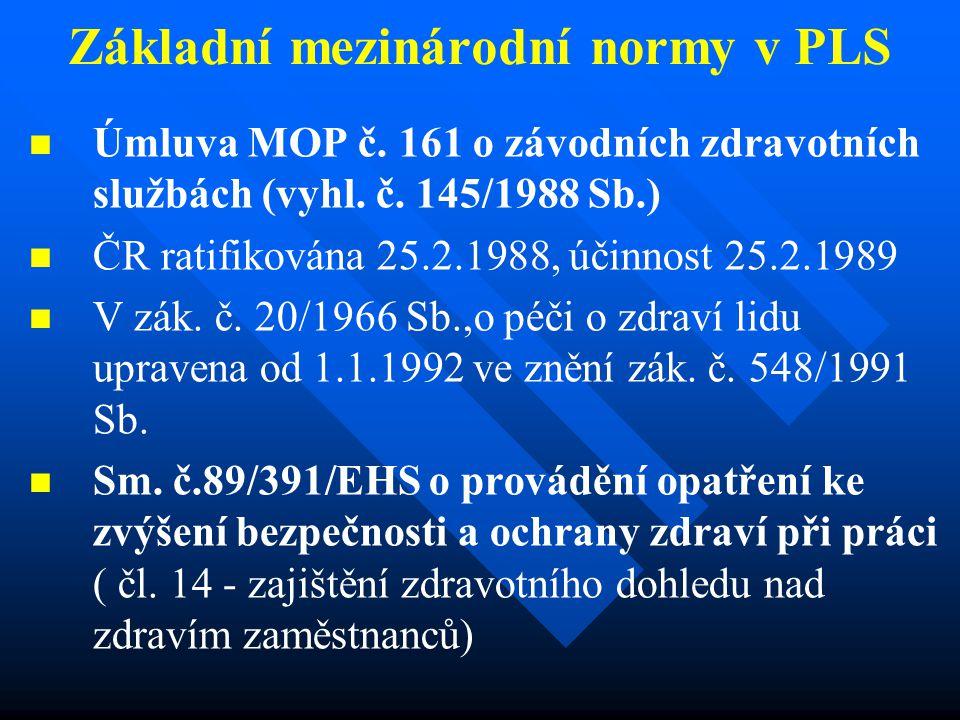 Základní mezinárodní normy v PLS Úmluva MOP č.161 o závodních zdravotních službách (vyhl.