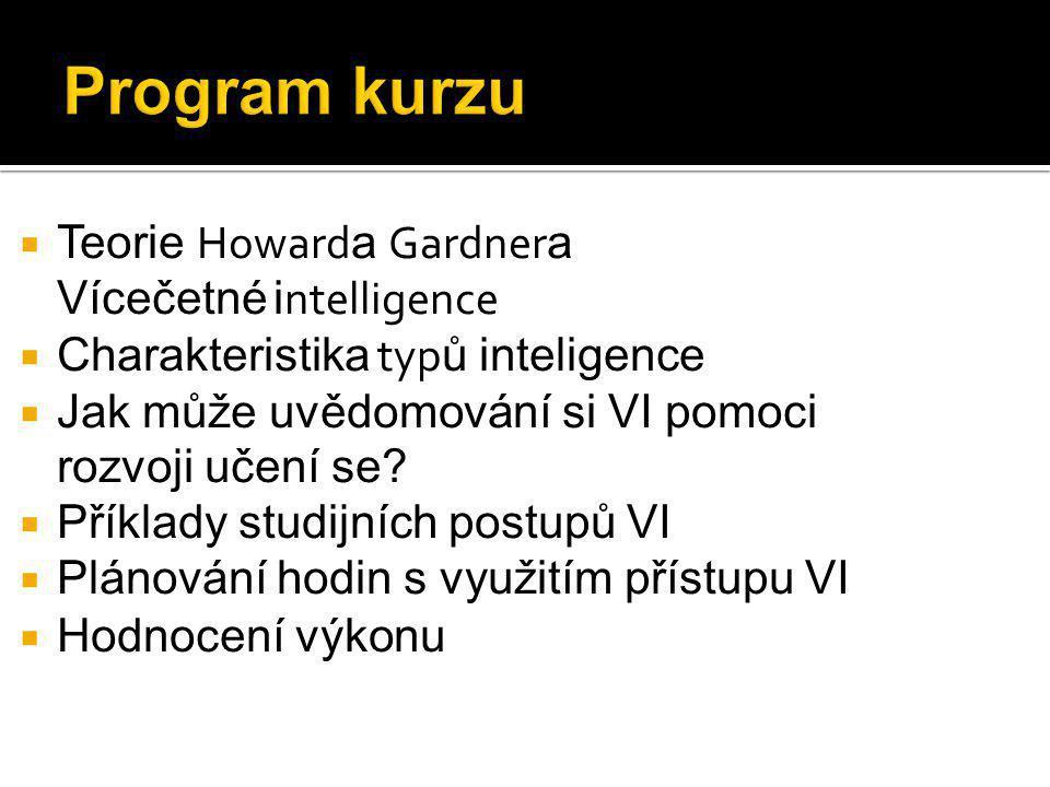 Program kurzu  Teorie Howard a Gardner a Vícečetné i ntelligence  Charakteristika typ ů inteligence  Jak může uvědomování si VI pomoci rozvoji učení se.