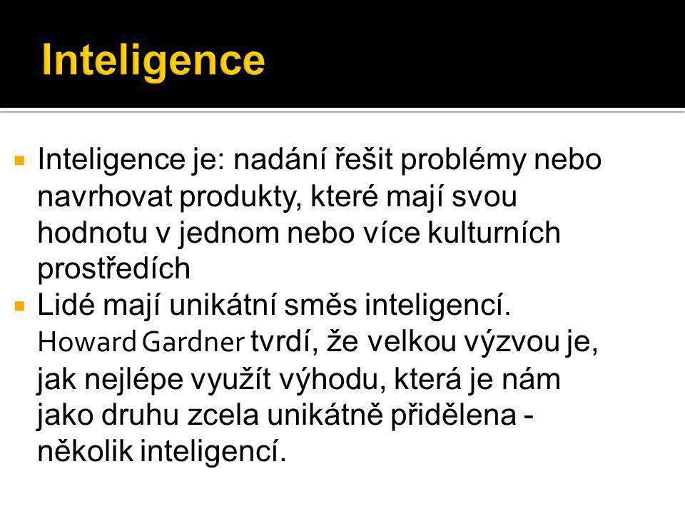  Inteligence je: nadání řešit problémy nebo navrhovat produkty, které mají svou hodnotu v jednom nebo více kulturních prostředích  Lidé mají unikátní směs inteligencí.