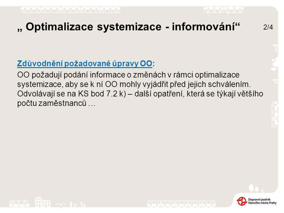 """""""Optimalizace systemizace - informování Stanovisko zpracovatele: Nesouhlasí s požadavkem."""