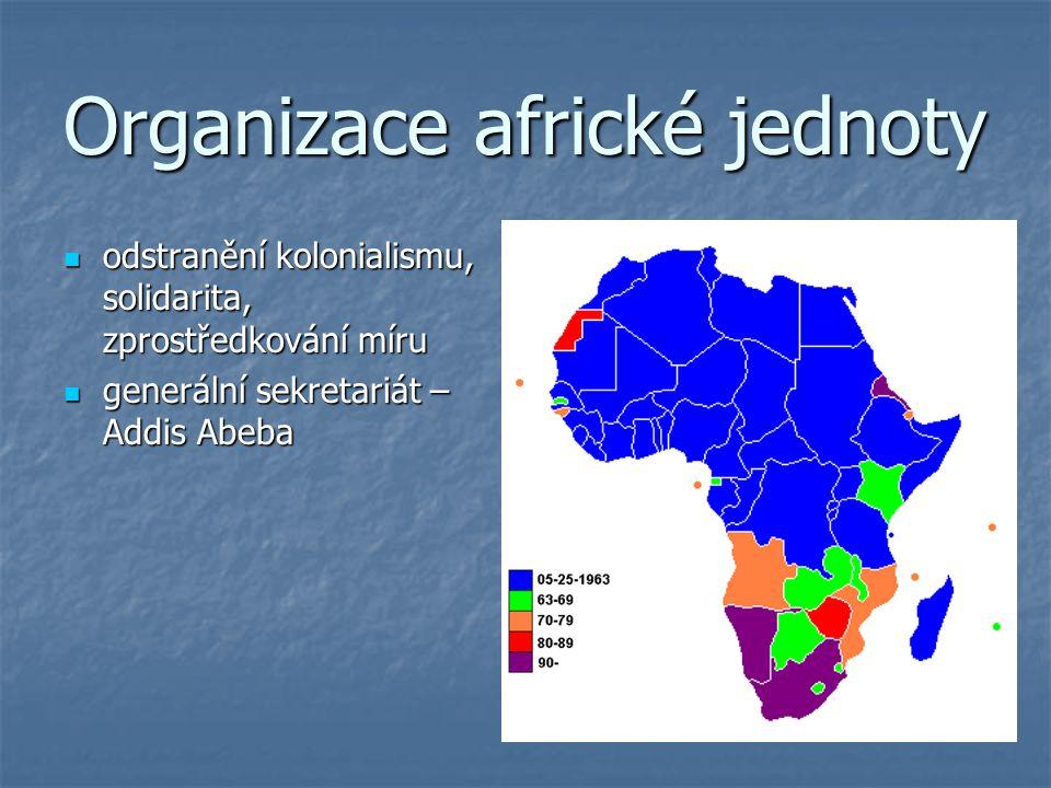 Organizace africké jednoty odstranění kolonialismu, solidarita, zprostředkování míru odstranění kolonialismu, solidarita, zprostředkování míru generál