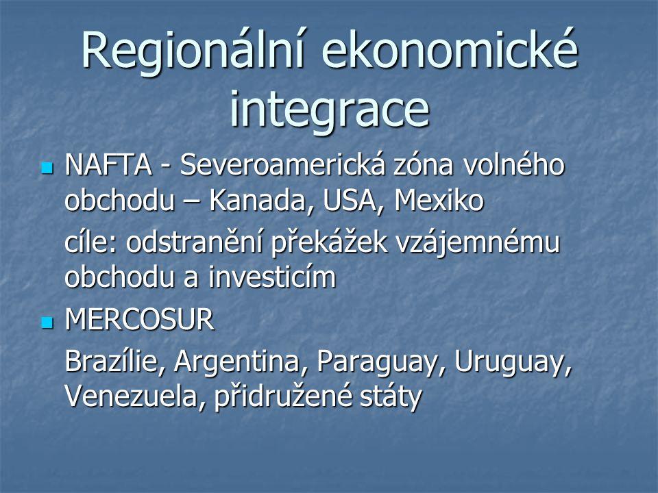 Regionální ekonomické integrace NAFTA - Severoamerická zóna volného obchodu – Kanada, USA, Mexiko NAFTA - Severoamerická zóna volného obchodu – Kanada