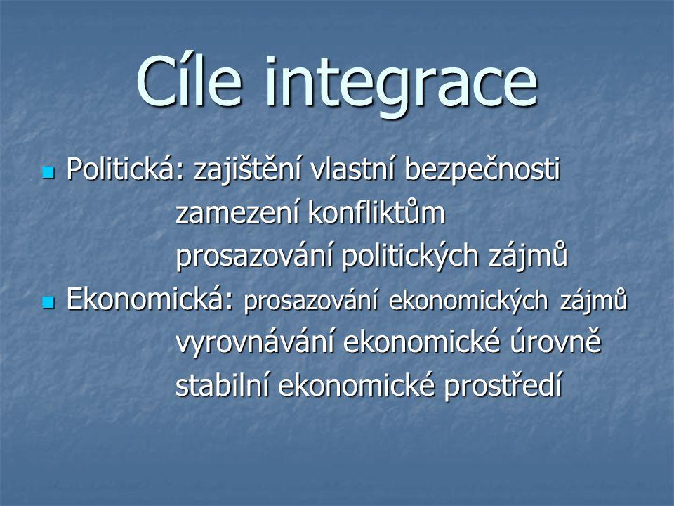 Cíle integrace Politická: zajištění vlastní bezpečnosti Politická: zajištění vlastní bezpečnosti zamezení konfliktům prosazování politických zájmů Eko