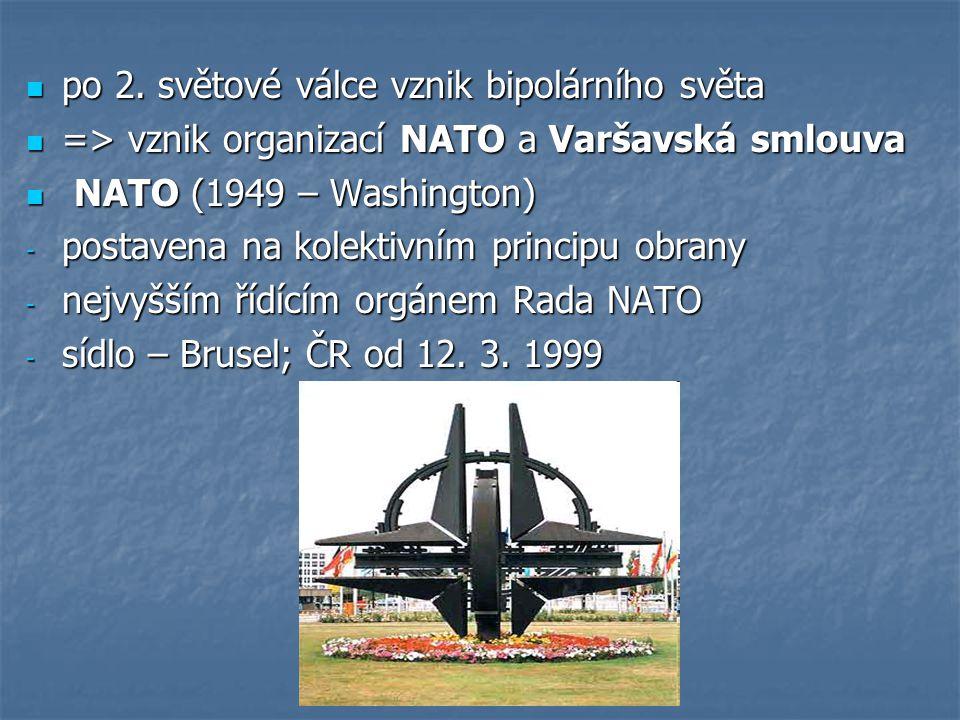 po 2. světové válce vznik bipolárního světa po 2. světové válce vznik bipolárního světa => vznik organizací NATO a Varšavská smlouva => vznik organiza