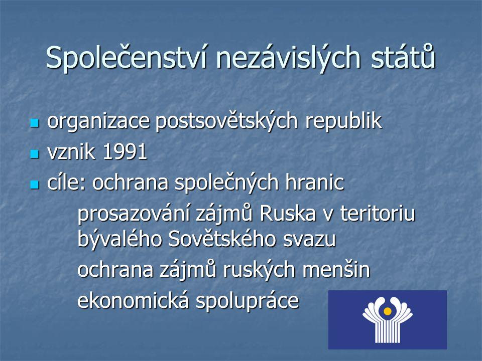 Společenství nezávislých států organizace postsovětských republik organizace postsovětských republik vznik 1991 vznik 1991 cíle: ochrana společných hr