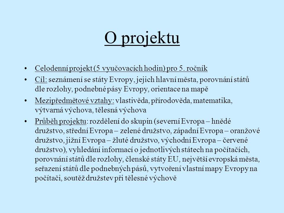 O projektu Celodenní projekt (5 vyučovacích hodin) pro 5. ročník Cíl: seznámení se státy Evropy, jejich hlavní města, porovnání států dle rozlohy, pod
