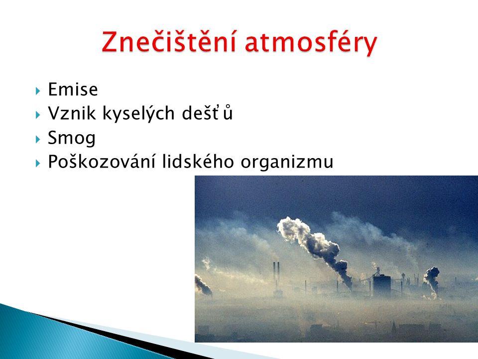  Emise  Vznik kyselých dešťů  Smog  Poškozování lidského organizmu