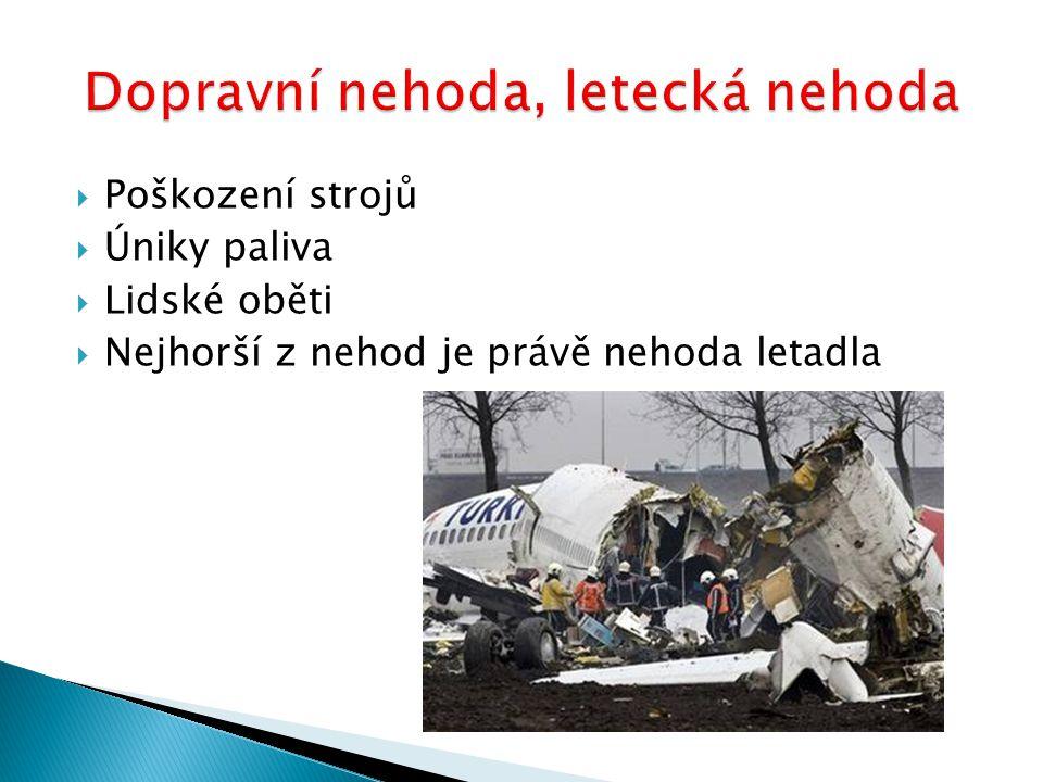  Poškození strojů  Úniky paliva  Lidské oběti  Nejhorší z nehod je právě nehoda letadla