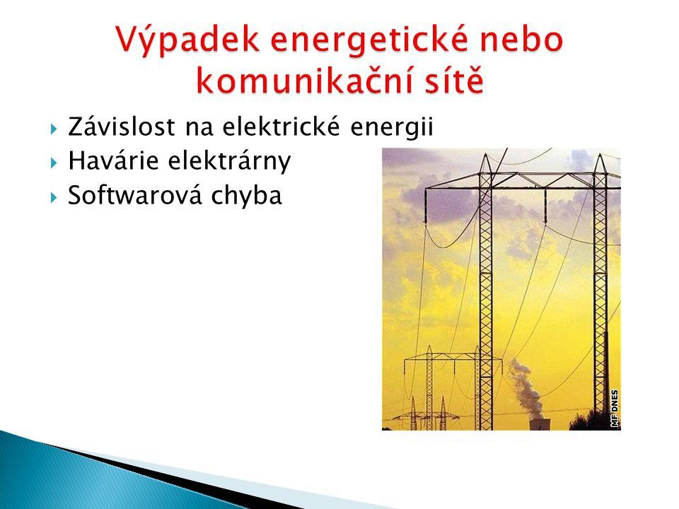  Závislost na elektrické energii  Havárie elektrárny  Softwarová chyba