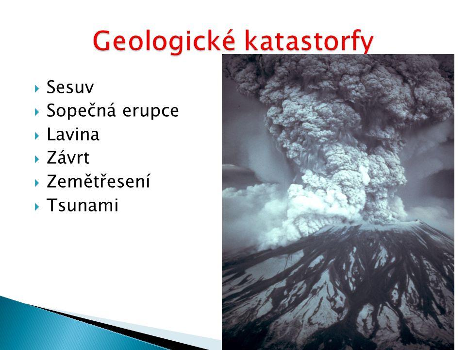  Sesuv  Sopečná erupce  Lavina  Závrt  Zemětřesení  Tsunami