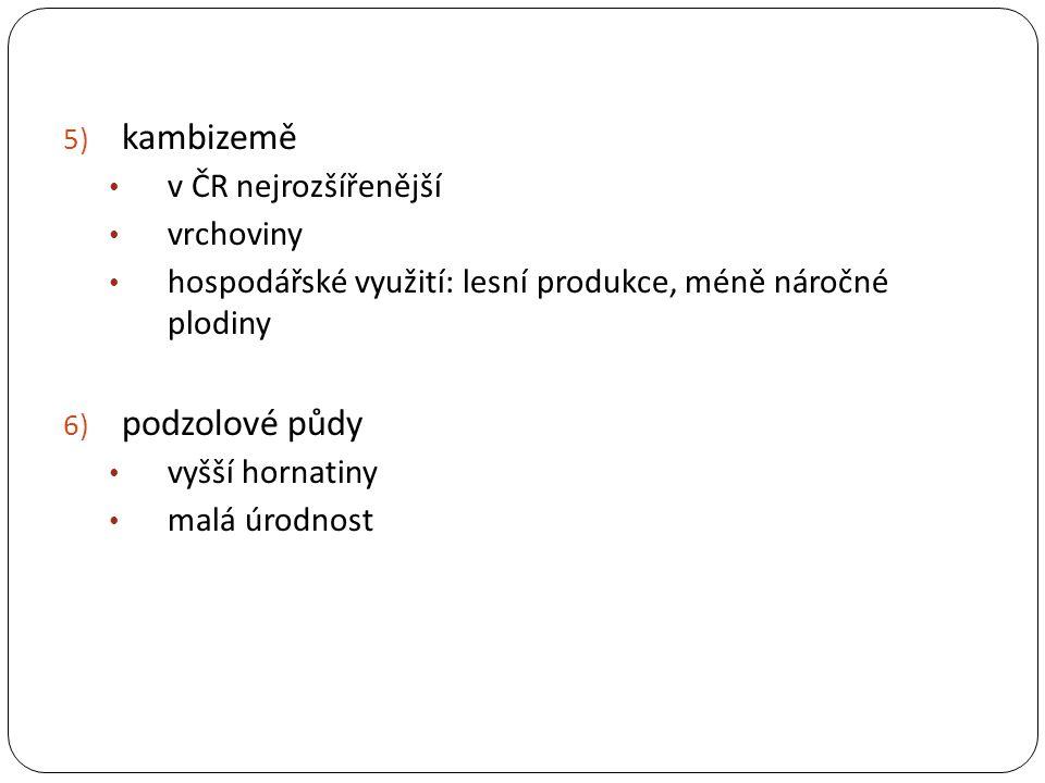5) kambizemě v ČR nejrozšířenější vrchoviny hospodářské využití: lesní produkce, méně náročné plodiny 6) podzolové půdy vyšší hornatiny malá úrodnost