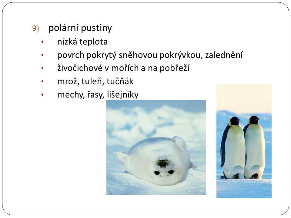 9) polární pustiny nízká teplota povrch pokrytý sněhovou pokrývkou, zalednění živočichové v mořích a na pobřeží mrož, tuleň, tučňák mechy, řasy, lišej