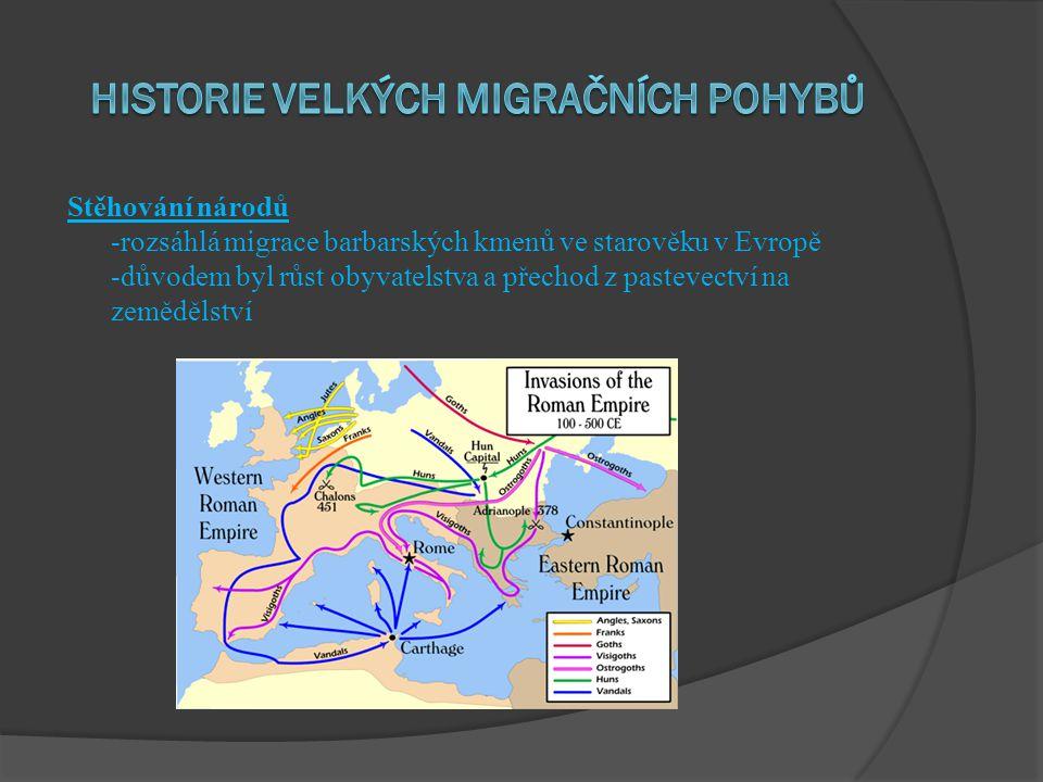 Stěhování národů -rozsáhlá migrace barbarských kmenů ve starověku v Evropě -důvodem byl růst obyvatelstva a přechod z pastevectví na zemědělství