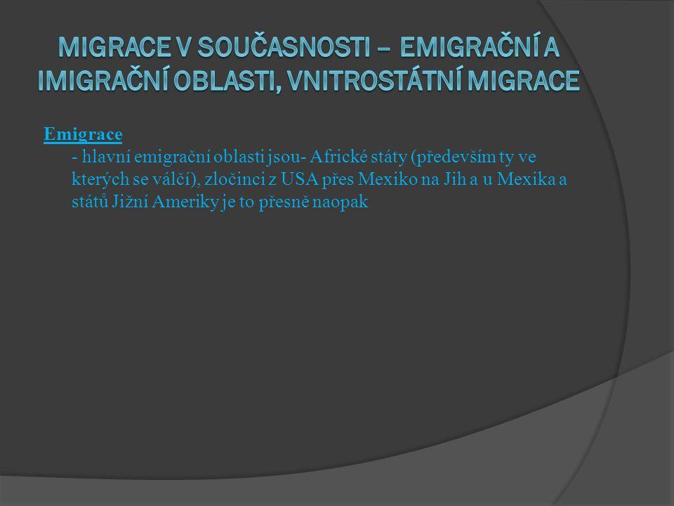 Emigrace - hlavní emigrační oblasti jsou- Africké státy (především ty ve kterých se válčí), zločinci z USA přes Mexiko na Jih a u Mexika a států Jižní