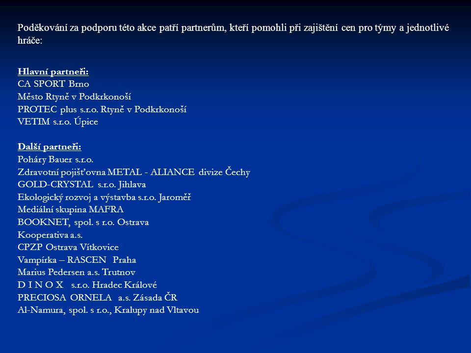 Poděkování za podporu této akce patří partnerům, kteří pomohli při zajištění cen pro týmy a jednotlivé hráče: Hlavní partneři: CA SPORT Brno Město Rtyně v Podkrkonoší PROTEC plus s.r.o.