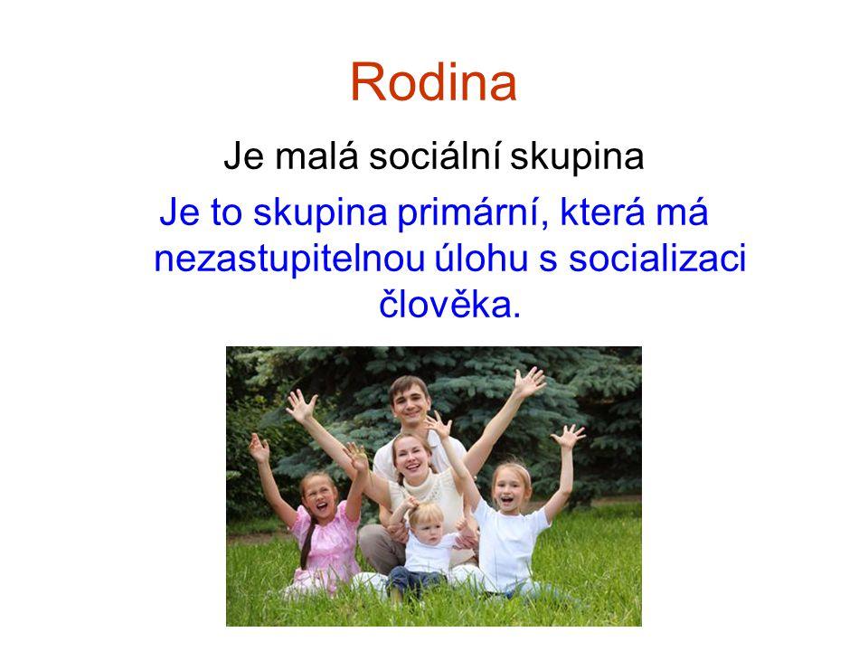 Rodina Je malá sociální skupina Je to skupina primární, která má nezastupitelnou úlohu s socializaci člověka.