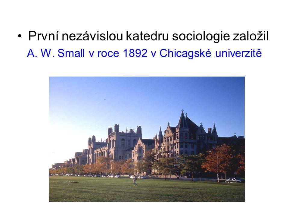 První nezávislou katedru sociologie založil A. W. Small v roce 1892 v Chicagské univerzitě
