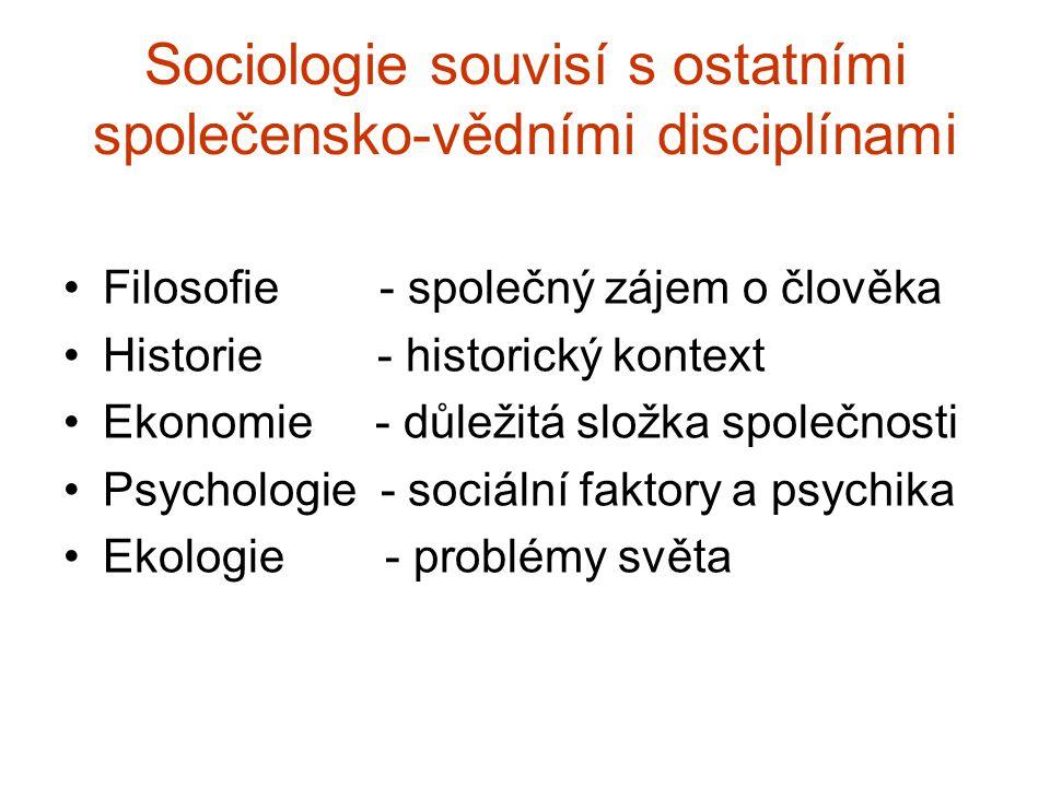 Sociologie souvisí s ostatními společensko-vědními disciplínami Filosofie - společný zájem o člověka Historie - historický kontext Ekonomie - důležitá