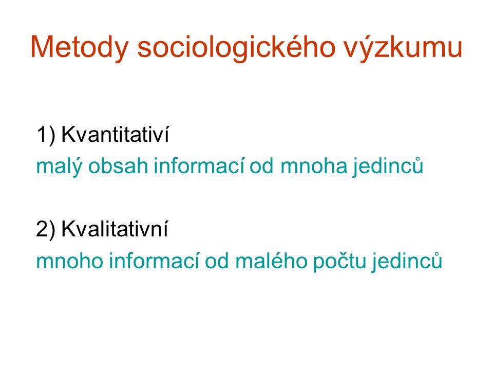 Metody sociologického výzkumu 1) Kvantitativí malý obsah informací od mnoha jedinců 2) Kvalitativní mnoho informací od malého počtu jedinců