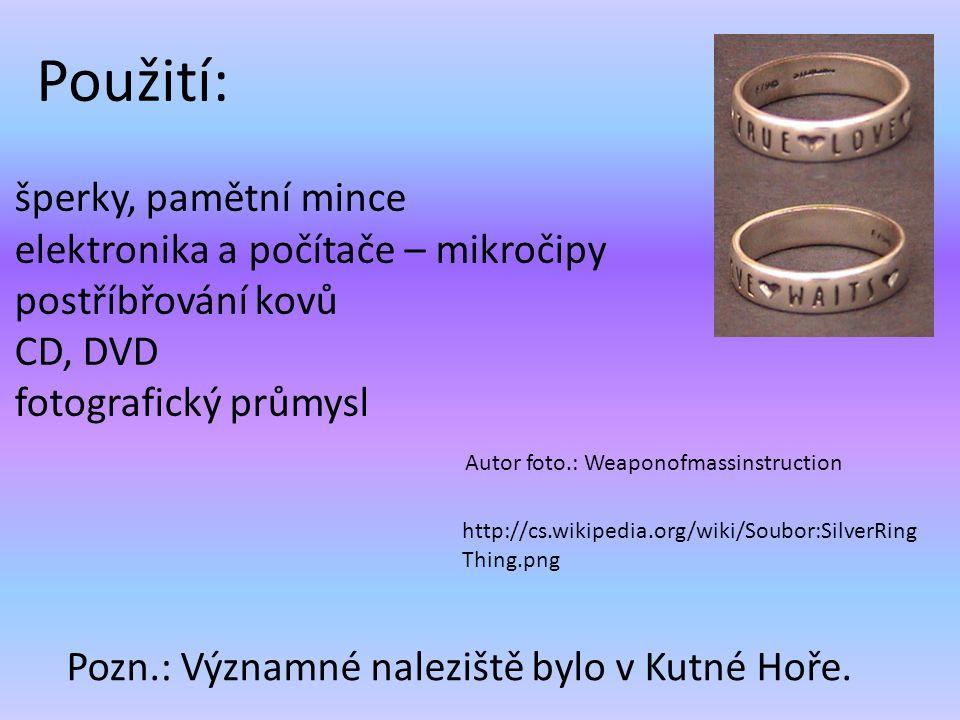 šperky, pamětní mince elektronika a počítače – mikročipy postříbřování kovů CD, DVD fotografický průmysl Pozn.: Významné naleziště bylo v Kutné Hoře.