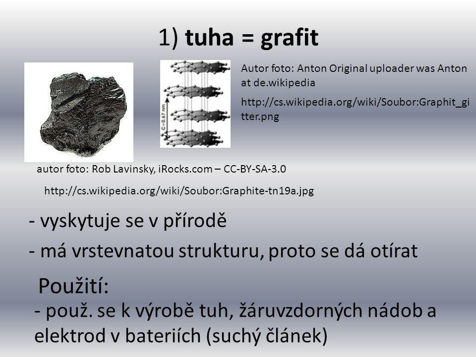 1) tuha = grafit - vyskytuje se v přírodě - má vrstevnatou strukturu, proto se dá otírat autor foto: Rob Lavinsky, iRocks.com – CC-BY-SA-3.0 http://cs