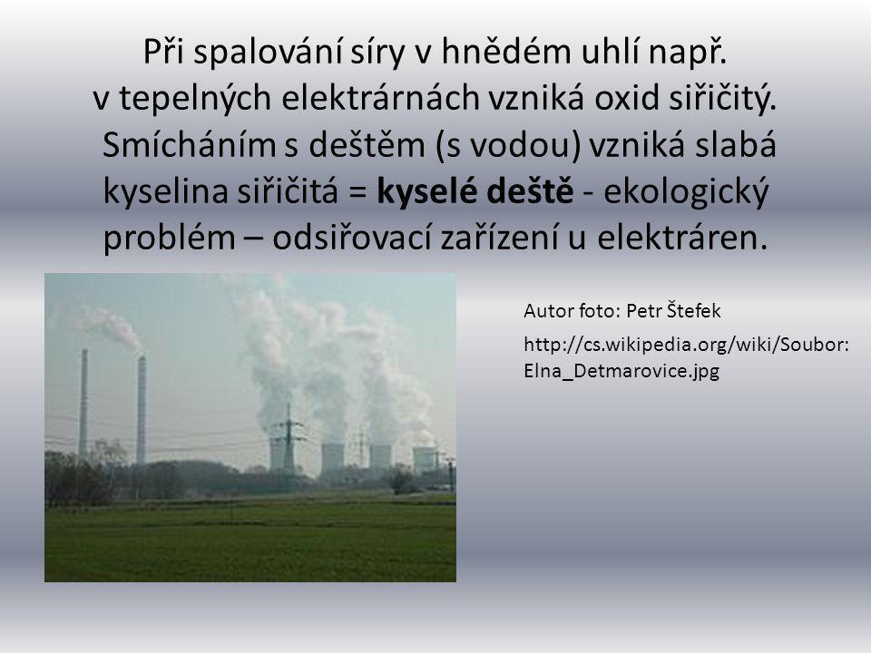 Při spalování síry v hnědém uhlí např. v tepelných elektrárnách vzniká oxid siřičitý. Smícháním s deštěm (s vodou) vzniká slabá kyselina siřičitá = ky