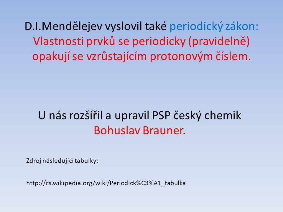 D.I.Mendělejev vyslovil také periodický zákon: Vlastnosti prvků se periodicky (pravidelně) opakují se vzrůstajícím protonovým číslem. U nás rozšířil a