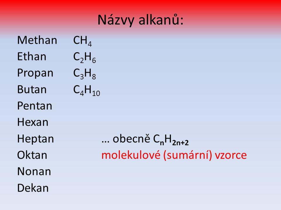 Jakou mají alkany strukturu? - to vyjadřují strukturní vzorce: Methan CH 4 Ethan C 2 H 6