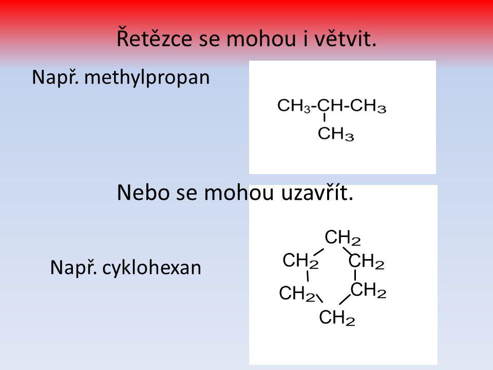 methan, ethan, propan, butan bezbarvé plyny snadno zápalné, extrémně hořlavé těžší než vzduch jsou obsaženy v zemním plynu, hlavně methan ( 90%)