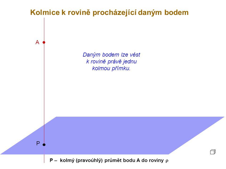 A P Daným bodem lze vést k rovině právě jednu kolmou přímku. P – kolmý (pravoúhlý) průmět bodu A do roviny  Kolmice k rovině procházející daným bodem