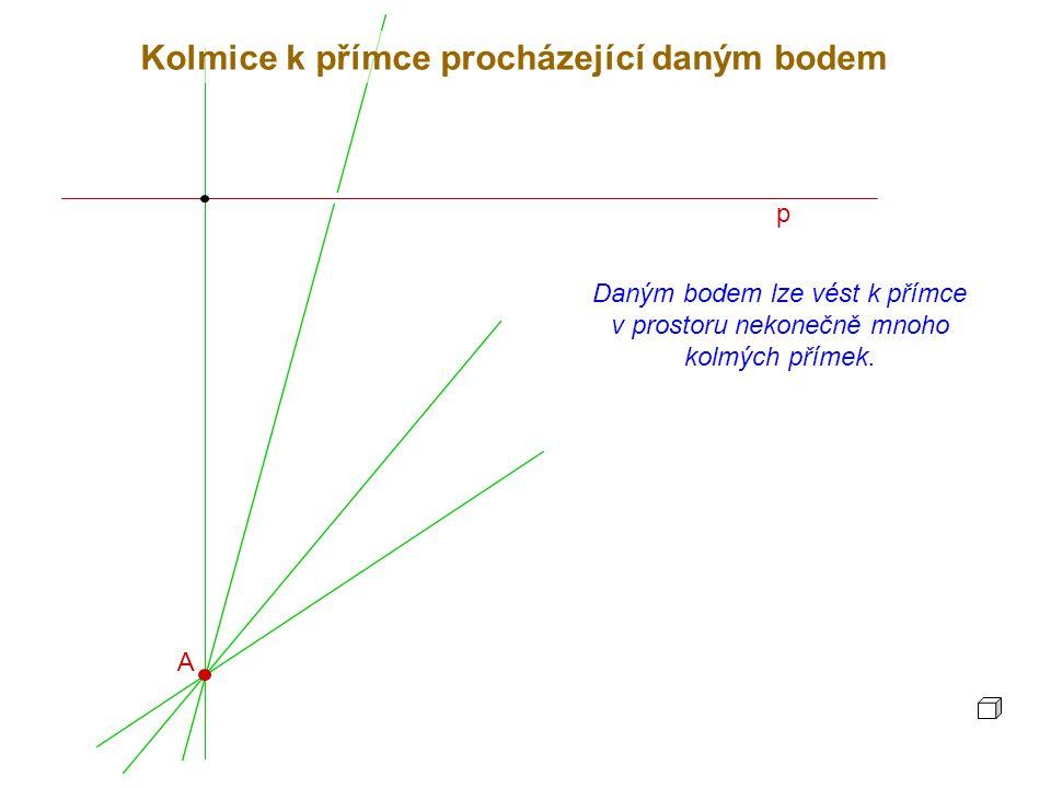 p Daným bodem lze vést k přímce v prostoru nekonečně mnoho kolmých přímek. Kolmice k přímce procházející daným bodem A