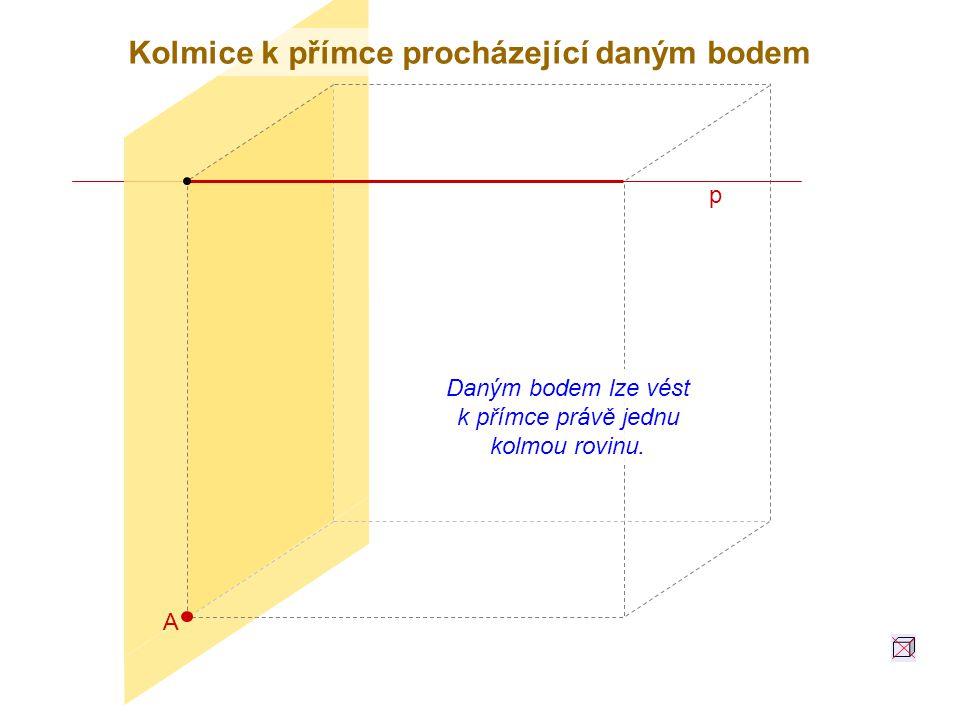 A p Daným bodem lze vést k přímce právě jednu kolmou rovinu. Kolmice k přímce procházející daným bodem
